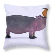 Happy Hippo And Pumpkin Throw Pillow