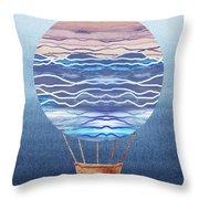 Happy Hot Air Balloon Watercolor Xxvi Throw Pillow
