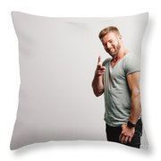 Happy Man Pointing His Finger To The Camera Throw Pillow