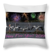 Happy New Year 2019 - Four Pelicans Throw Pillow