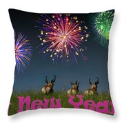 Happy New Year 2019 - Three Pronghorn Antelope Throw Pillow