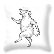 Happy Pig Dancing Drawing Retro Black And White Throw Pillow