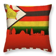 Harare Zimbabwe World City Flag Skyline Throw Pillow