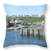 harbour at St. Abbs, Berwickshire Throw Pillow