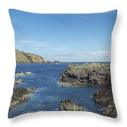 harbour entrance at St. Abbs, Berwickshire Throw Pillow