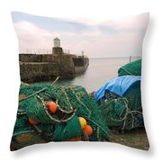 harbour pier and fishings nets at Pittenweem, Fife Throw Pillow