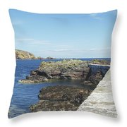 harbour wall and cliffs at St. Abbs, Berwickshire Throw Pillow