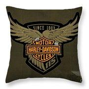 Harley Davidson Old Vintage Logo Fuel Tank Motorcycle Brown Background Throw Pillow