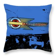 Harley Davidson Tank Logo Blue Artwork Throw Pillow