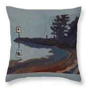 Harmony Beach Fog And Rain Throw Pillow