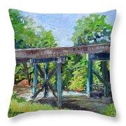 Harrison Park Bridge-ellijay River - Sun Peeking Under Throw Pillow