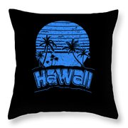 Hawaii Sunset Beach Vacation Paradise Island Blue Throw Pillow