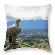 Hawk Overseeing Village. Throw Pillow