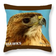 Hawks Mascot 3 Throw Pillow