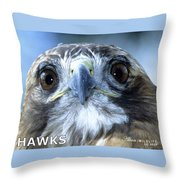 Hawks Mascot Throw Pillow