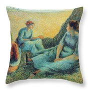 Haymakers Resting, 1891 Throw Pillow