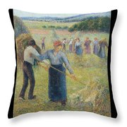 Haymaking At Eragny, 1891 Throw Pillow