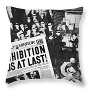 Headline Declaring The End Of Prohibition, 6th December, 1933 Throw Pillow