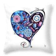 Heart Racing A Mad Shredder Biking Cycling Painting By Megan Duncanson Throw Pillow