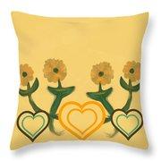 Hearts Bronze Throw Pillow