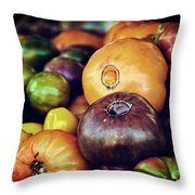 Heirloom Tomatoes At The Farmers Market Throw Pillow