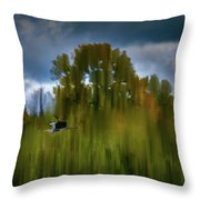 Heron Flying Abstract #h9 Throw Pillow