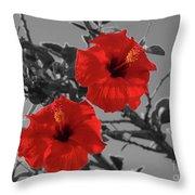 Hibiscus Selective Color Throw Pillow