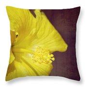 Hibiscus Yellow Throw Pillow