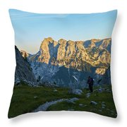 Hiker In The Morning Throw Pillow
