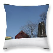 Hill Farm In Snow Throw Pillow