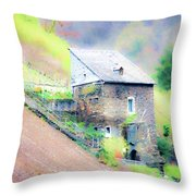 Hillside Cottage Throw Pillow by Fran Riley