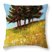 Hillside Evergreens Throw Pillow