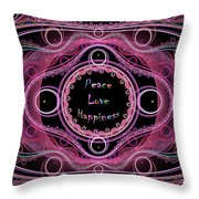 Hippie Lace - Peace, Love, Happiness Throw Pillow