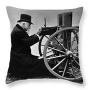 Hiram Maxim Firing His Maxim Machine Gun - 1884 Throw Pillow
