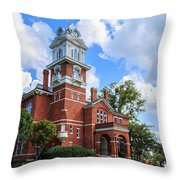 Historic Gwinnett County Courthouse Throw Pillow by Doug Camara