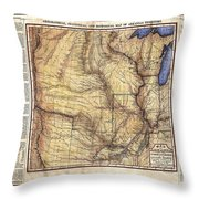 Historical Map Hand Painted Arkansaws Territory Throw Pillow