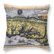 Historical Map Hand Painted Drake Virginia Throw Pillow