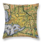 Historical Map Hand Painted Lake Superior Norhern Minnesota Boundary Waters Captain Carver Throw Pillow