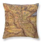 Historical Map Hand Painted Lake Superior North Dakota Minnesota Throw Pillow