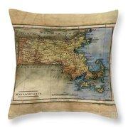 Historical Map Hand Painted Massachussets Throw Pillow