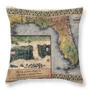 Historical Map Hand Painted St. Augustine Throw Pillow
