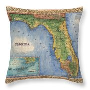 Historical Map Hand Painted Vintage Florida Colton Throw Pillow
