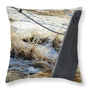 Hoar Frost On A Fence Along Turnagain Arm On The Seward Highway Alaska Throw Pillow