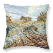 Hoarfrost At Ennery, 1873 Throw Pillow