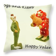 Hogs And Kisses Clown Valentines Throw Pillow