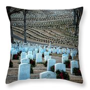 Holiday Wreaths At National Cemetery Throw Pillow by Tom Singleton