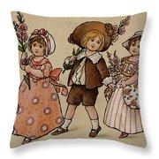 Hollyhocks, Victorian Card Throw Pillow