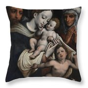 Holy Family With Elisabeth And John The Baptist  Throw Pillow