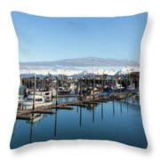 Homer Alaska Fishing Port Throw Pillow