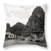 Homes On Ha Long Bay Boat People  Throw Pillow
